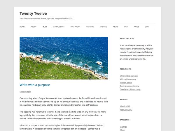 WordPress 3.5 新增的默认主题: Twenty Twelve(2012)
