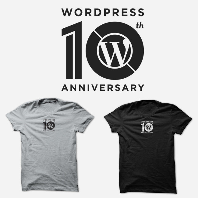 WordPress 推出 10 周年纪念T恤