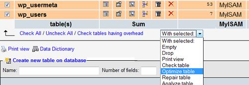 PHPMyAdmin Optimize Table