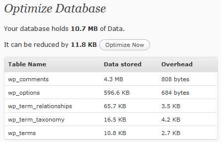 在 WordPress 后台优化 MySQL 表